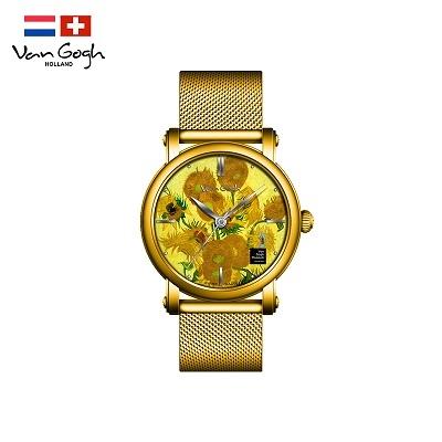 梵高(VanGogh)瑞士女士石英手表原装进口女表 向日葵Lady 13-GM