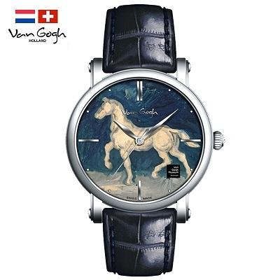 梵高(VanGogh)瑞士手表男 3D油画表面牛皮表带原装进口 马的石膏像Gent 10-1