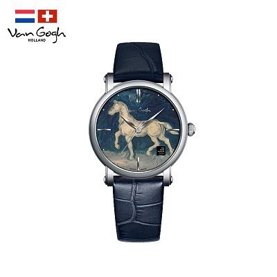 梵高(VanGogh)瑞士手表女 3D油画表面牛皮表带原装进口  马的石膏像OPHM-L